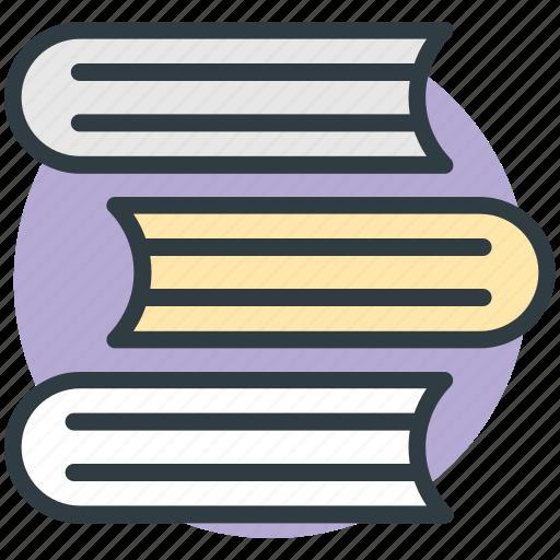 books, books collection, books record, books stack, education, study icon