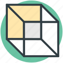 box, cube, cube shape, hollow cube, shape icon
