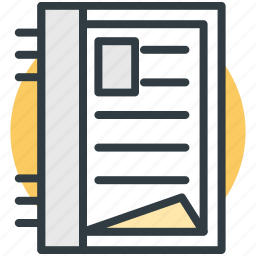 data, notepad, notes, plan, steno pad icon