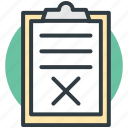 clipboard, medical report, medications, medicine sheet, wrong article icon