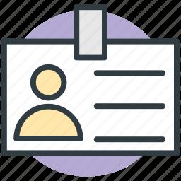 badge, employee card, identity card, job card, volunteer card icon