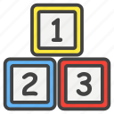 blocks, building, education, learn, numbers, school, study icon