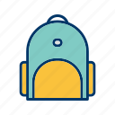 bag, briefcase, school bag, student icon