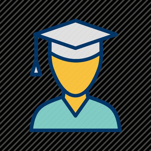 graduate, male, male student, student icon