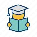 education, knowledge, library, reading, study icon