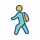 education, school, student, walking to school icon