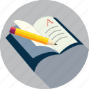 address, book, book and pencil, document, edit, notebook, paper, pen, pencil, text on book, write icon