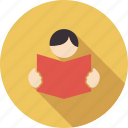 book, document, education, learning, reading, school, student, study, user reading icon