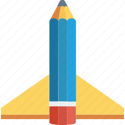 education, launch, pen, pencil, rocket, study icon icon