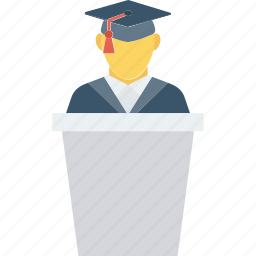 graduate, speech, student icon icon