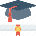 degree, graduation, graduation degree, mortarboard, scholar icon icon