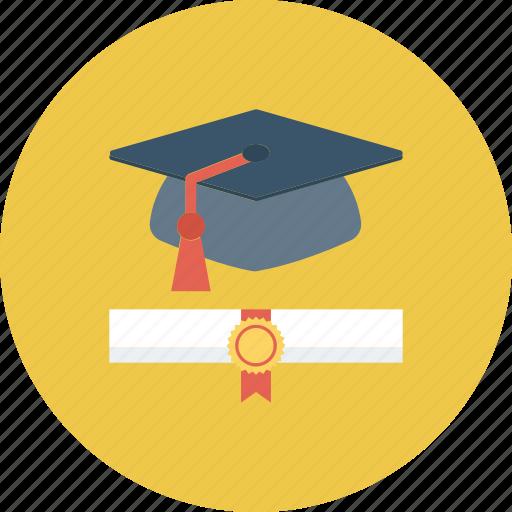 degree, graduation, graduation degree, mortarboard, scholar icon icon