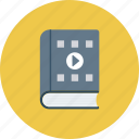 book, content, movie, play, video icon icon