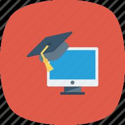 graduation, online education, online graduation, online study icon icon