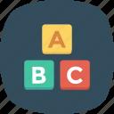 abc, blocks, abc blocks, alphabet, alphabet blocks, cubes icon