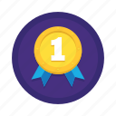 badge, first, gold, medal, number one, ranking, winner icon