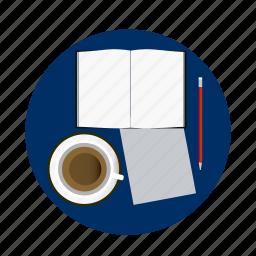 book, coffe, homework, paper, pen, school, university icon
