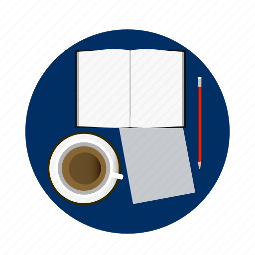 Book, coffe, homework, paper, pen, school, university icon - Download on Iconfinder