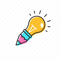 bulb and pencil, idea, ideapaint, knowledge icon
