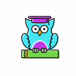 exams, night, night owl, owl, study icon