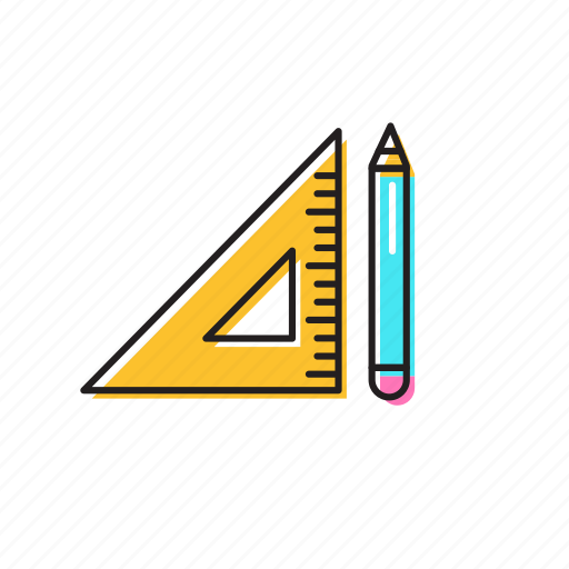 pencil, pencil and ruler, ruler icon