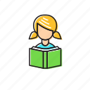 girl reading, reading, student icon