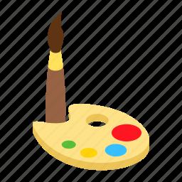 artistic, brush, isometric, paint, palette, watercolor, watercolour icon