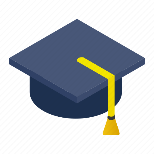 cap, ceremony, graduate, hat, isometric, school, student icon
