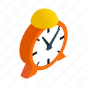 alarm, alert, bell, circle, clock, isometric, shadow icon