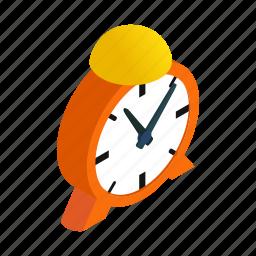 alarm, alert, bell, circle, clock, isometric, shadow icon