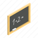 isometric, wooden, blackboard, chalk, board, white, chalkboard
