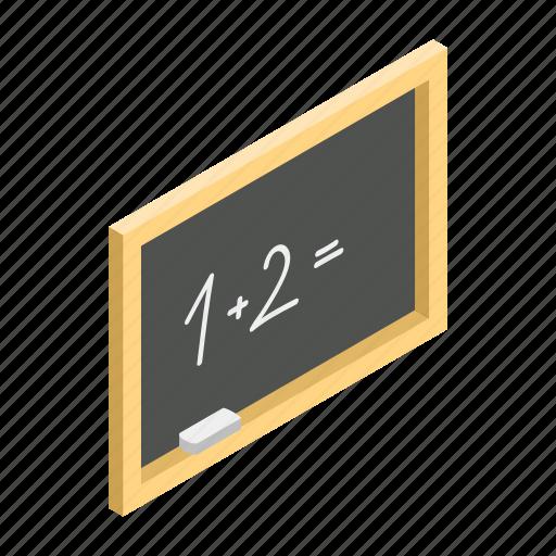 blackboard, board, chalk, chalkboard, isometric, white, wooden icon