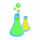 bottle, flasks, glass, isometric, liquid, substance, tube icon