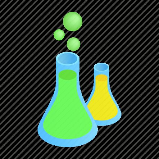 bottle, flasks, glass, isometric, liquid, substance, tube icon