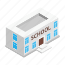 building, isometric, house, university, school, architecture, education