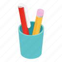 pencil, isometric, business, office, cup, pen, white