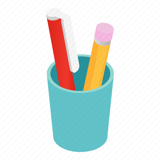business, cup, isometric, office, pen, pencil, white icon