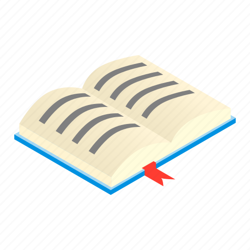 book, isometric, notebook, open, paper, print, textbook icon