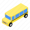 isometric, transportation, bus, travel, school, vehicle, transport