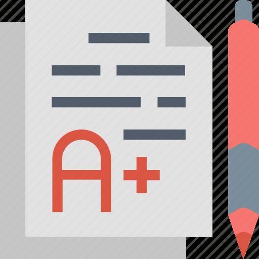 a+, best, grade, mark, pencil, score, test icon