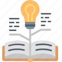 book, bulb, education, growth, knowledge, learning, light icon
