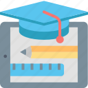 education, hat, internet, oline, pencil, ruler, tablet icon