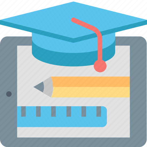 education, hat, internet, oline, pencil, ruler, tablet icon