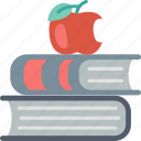 apple, books, education, knowledge, learning, school, studying icon