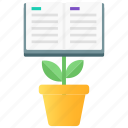 academic boost, book plant, educational growth, knowledge development, knowledge growth icon