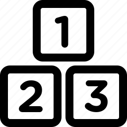 123, blocks, cubes, digits, numbers, preschool, rankings icon