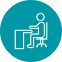 chair, desk, furniture, office, sitting on desk, work icon