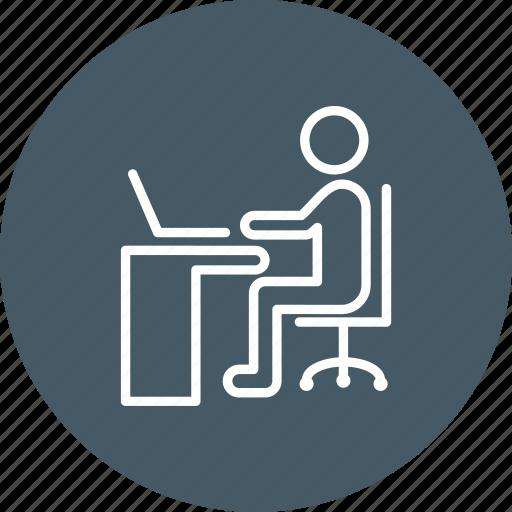 office, using laptop, work, working on laptop icon