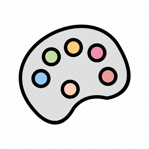 brush, color pallete, paint, painting icon
