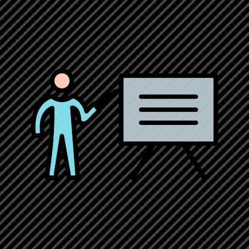 analytics, presentation, teaching, white board icon